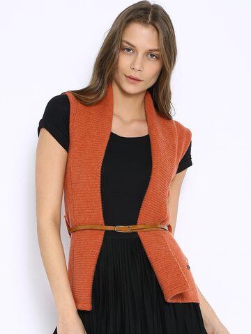 U.S. Polo Assn. Women Rust Orange Woollen Shrug at myntra