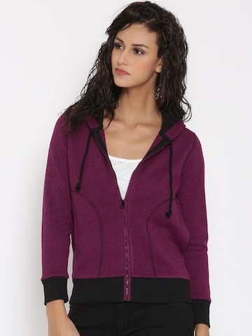 Lee Magenta Hooded Sweatshirt at myntra