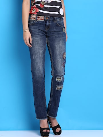 Desigual Blue Washed Jeans at myntra