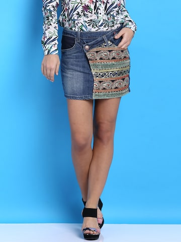 Desigual Blue Mini Denim Skirt at myntra