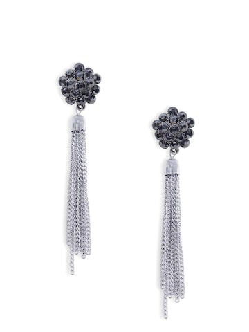 Rubans Silver-Toned & Black Drop Earrings at myntra