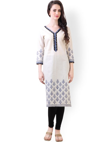 Libas Cream-Coloured Printed Khaadi Kurta at myntra