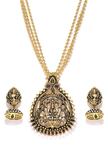 Zaveri Pearls Antique Gold-Toned Earrings & Pendant Set with Chain at myntra