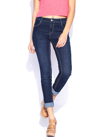 Kraus Jeans Blue Mid-Rise Ankle-Length Skinny Fit K3024 Jeggings at myntra