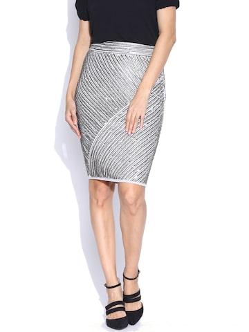 Vero Moda Marquee by Kangana Ranaut Grey Sequinned Pencil Skirt at myntra