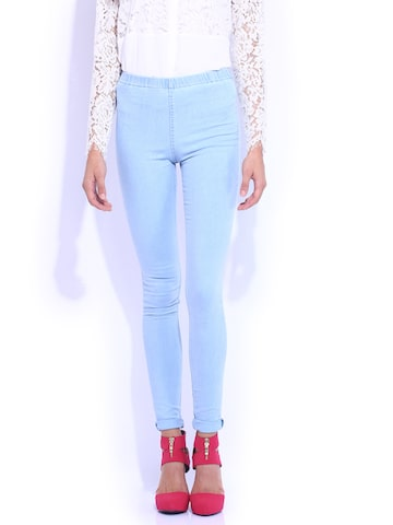 Kraus Jeans Light Blue Washed Skinny Fit Jeggings at myntra