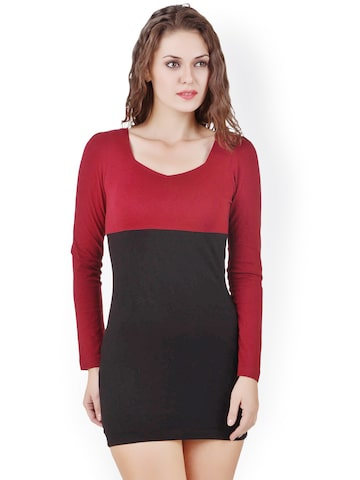 Texco Black & Maroon Bodycon Dress at myntra