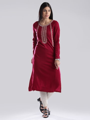 W Red Embroidered Winter Kurta at myntra