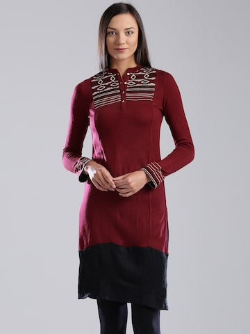 W Maroon Knitted Kurta at myntra