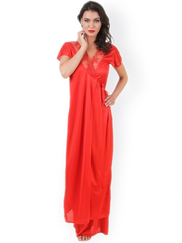 Masha Red Maxi Nightdress with Robe NT2PC-A10-375 at myntra
