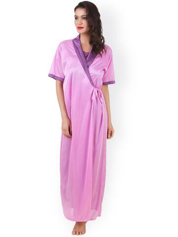 Masha Purple & Pink Maxi Nightdress with Robe NT2PC-A11-380 at myntra