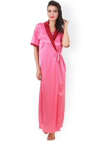 Masha Red & Pink Maxi Nightdress with Robe NT2PC-A11-381 at myntra