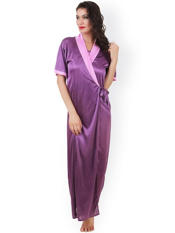 Masha Pink & Purple Maxi Nightdress with Robe NT2PC-A11-382 at myntra