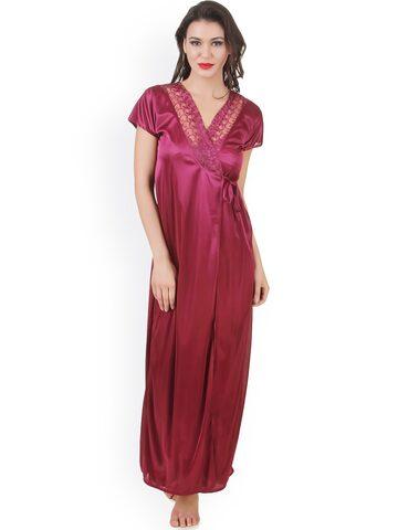 Masha Pink Maxi Nightdress with Robe NT2PC-A12-386 at myntra