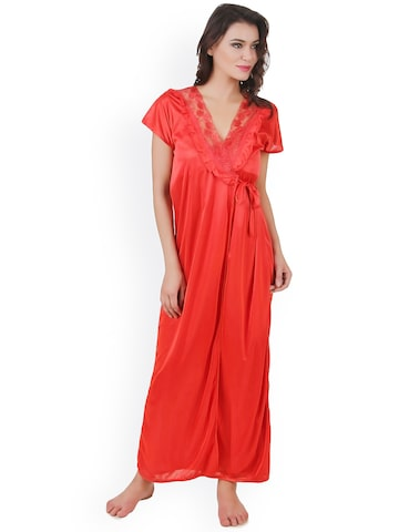 Masha Red Printed Maxi Nightdress Set NT6PC-A15-396 at myntra
