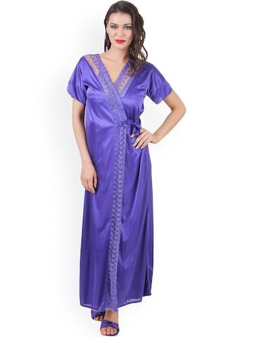 Masha Blue Nightdress Set NT4PC-A16-401 at myntra