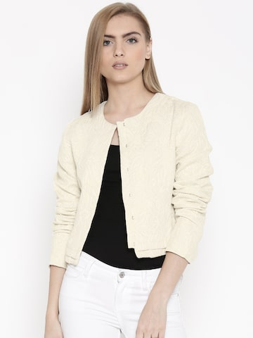 United Colors of Benetton Cream-Coloured Crop Jacket at myntra