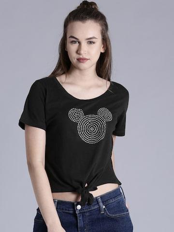 Kook N Keech Disney Women Black Round Neck Crop T-shirt at myntra