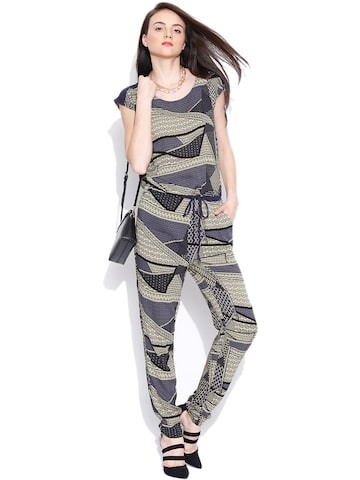 Vero Moda Beige & Purple Printed Jumpsuit at myntra
