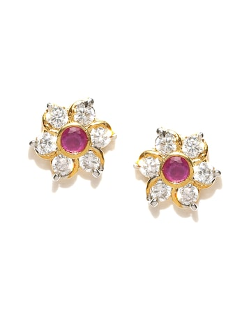 Zaveri Pearls Pink Gold-Plated CZ Stone Stud Earrings at myntra