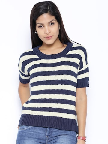 Lee Navy & Off-White Striped Sweater at myntra