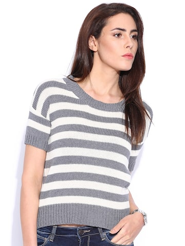 Lee Grey & Off-White Striped Sweater at myntra