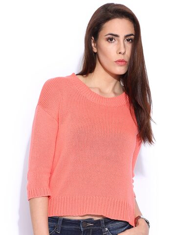 Lee Peach-Coloured Sweater at myntra