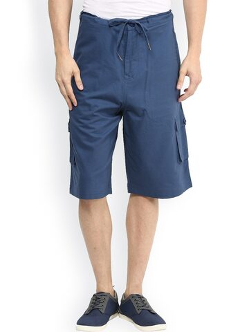 Hypernation Blue Cargo Shorts at myntra