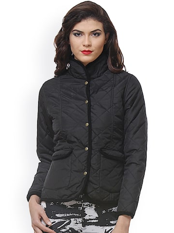PURYS Black Quilted jacket at myntra