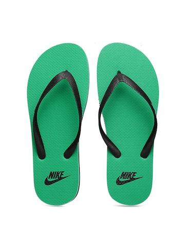 Nike Men Black & Green Aquaswift Flip-Flops at myntra