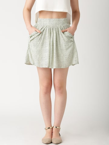DressBerry Off-White Checked A-Line Skirt at myntra