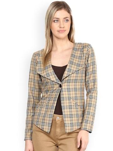 Athena Brown Checked Jacket at myntra