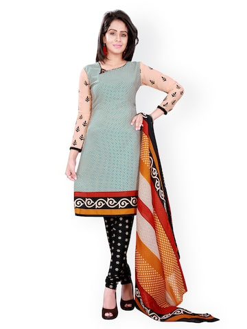 Florence Green & Black Polycotton Unstitched Dress Material at myntra