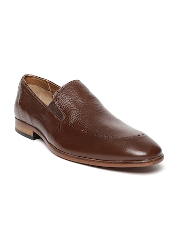 Ruosh Occasion Men Brown Rare Leather Slip-Ons at myntra
