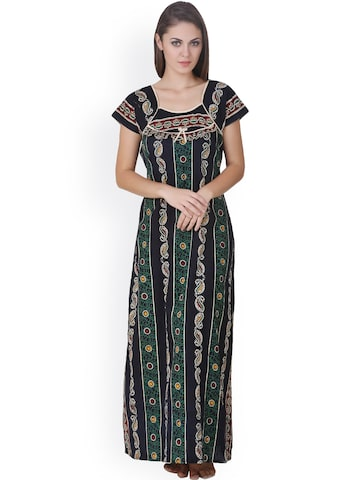 Masha Green & Black Printed Maxi Nightdress NT-A33-473 at myntra