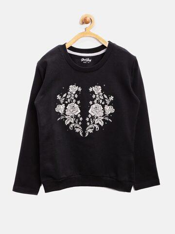 Gini & Jony Girls Black Embroidered Sweatshirt at myntra