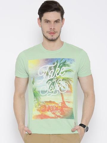 Flying Machine Green Tropical Print T-shirt at myntra