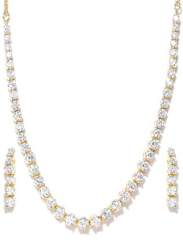 Zaveri Pearls Gold-Toned CZ Stone-Studded Jewellery Set at myntra