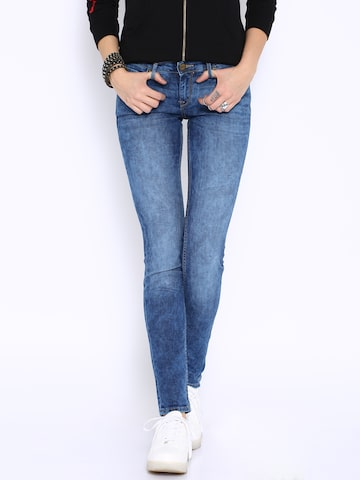 Ed Hardy Blue Super-Skinny Ankle-Length Jeans at myntra
