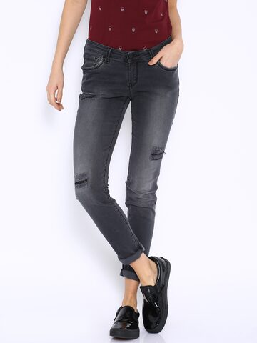 Ed Hardy Grey Skinny Fit Jeans at myntra