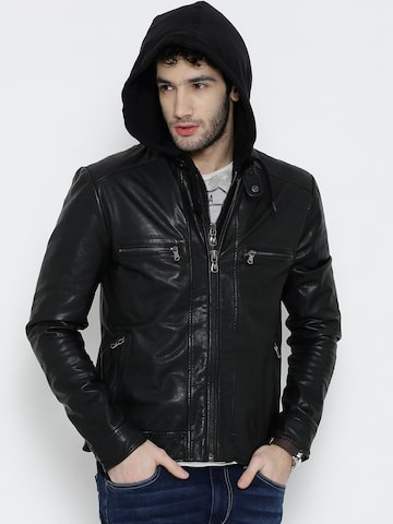 BARESKIN Black Leather Jacket with Detachable Hood at myntra
