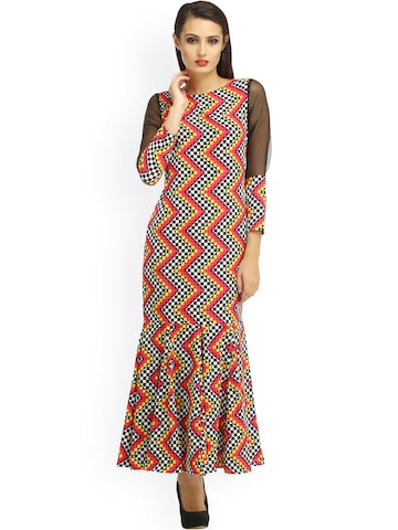 Cottinfab Multicoloured Printed Maxi Dress at myntra