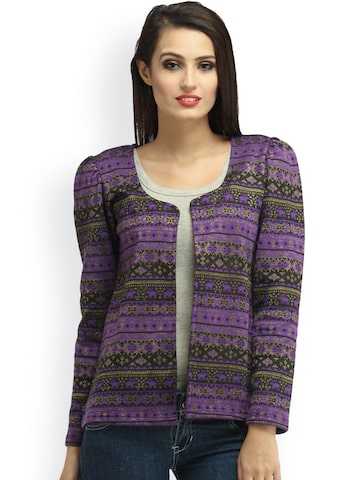 Cottinfab Purple Printed Shrug at myntra