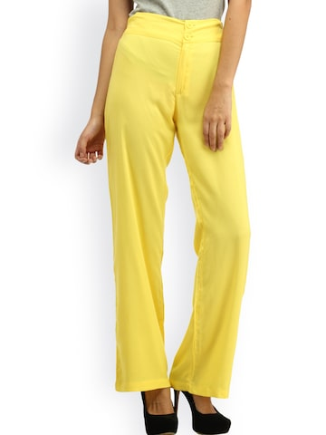 Cottinfab Yellow Plazzo Trousers at myntra