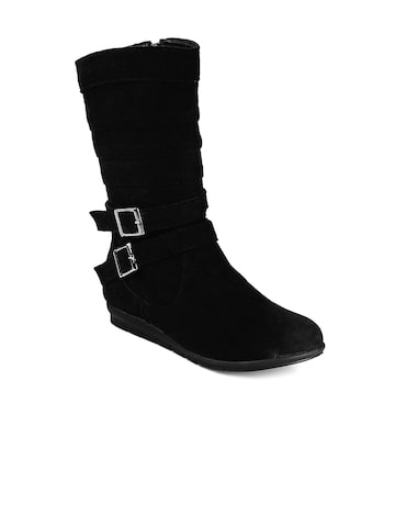 Bruno Manetti Women Black Suede Boots at myntra