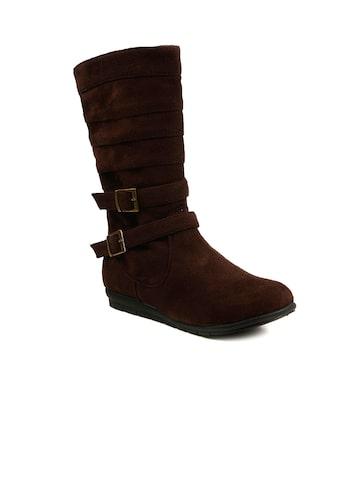 Bruno Manetti Women Dark Brown Suede Boots at myntra