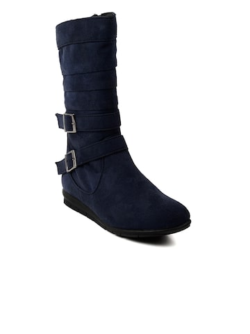 Bruno Manetti Women Navy Suede Boots at myntra