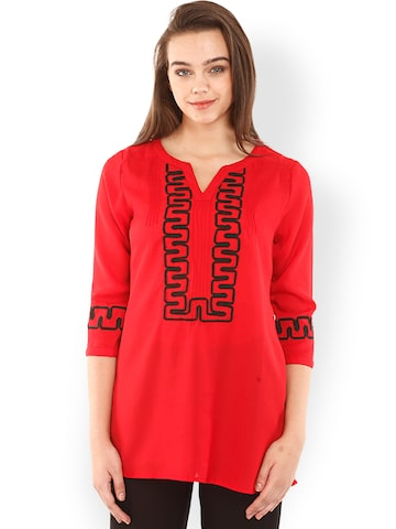 Mustard Red Embroidered Tunic at myntra
