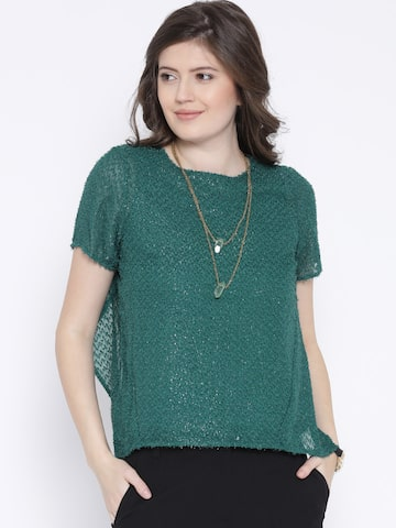 Vero Moda Green Shimmer Top at myntra