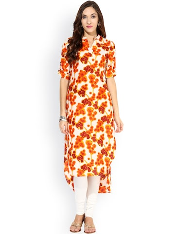 Raindrops White & Orange Printed Kurta at myntra